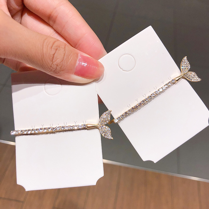 Temperament fishtail hairpin diamond simple word clip luxury hair card headdress trim clip bangs clip Korean hair accessories wholesale nihaojewelry NHNA220340