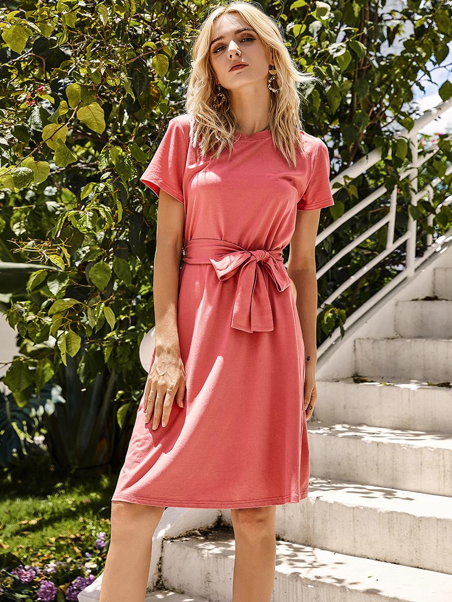 women's pure color casual tie dresses NSAL2106