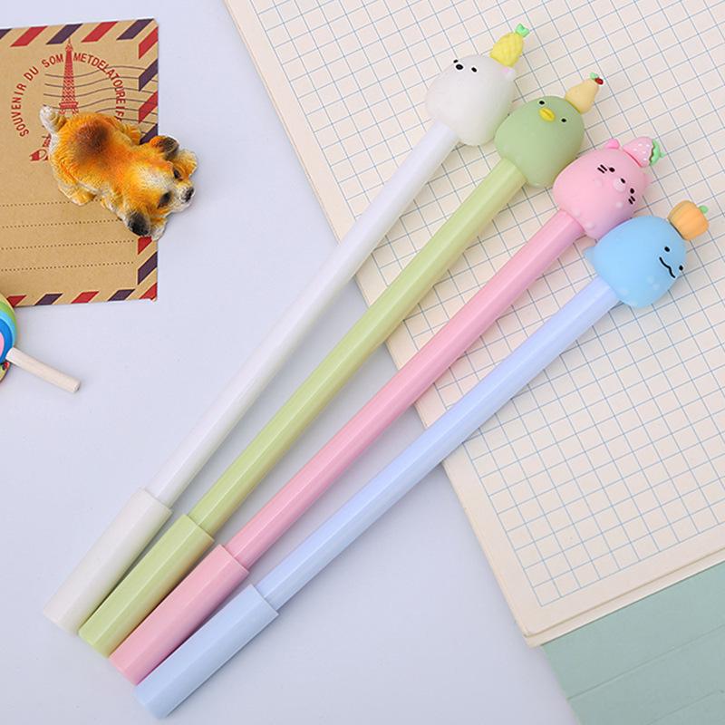 Sáng tạo gel động vật trái cây màu đen bút thử nghiệm bút nước văn phòng bút hoạt hình sinh viên Hàn Quốc