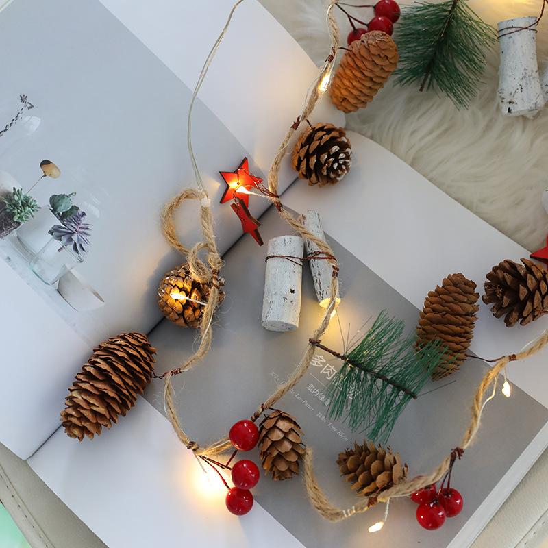 圣诞节饰品松果圣诞灯饰led灯串圣诞树彩灯店铺节日装扮场景布置
