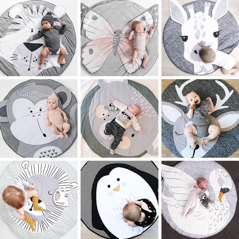 儿童爬行垫加厚印花游戏垫ins爆款家用动物款式地垫可折叠爬爬垫
