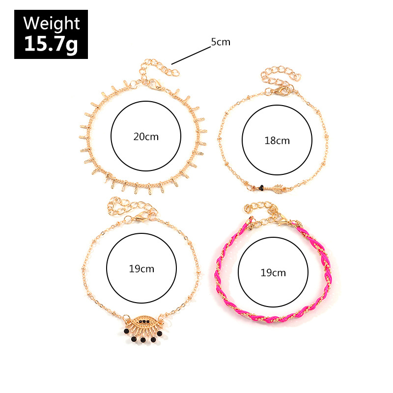 Jewelry Simple Fashion Colorful Woven Rope Set Metal Devil Eye Anklet NHNZ195975
