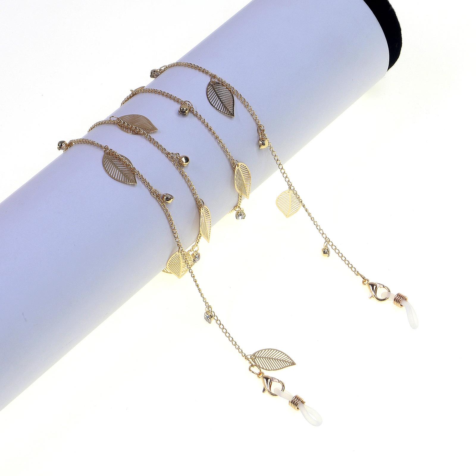 Hot Fashionable Simple Golden Leaves Rhinestone Glasses Chain  wholesale nihaojewelry NHBC220573