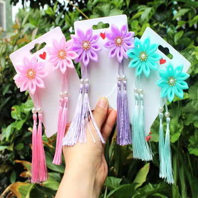 chinese hanfu hair accessory for girls Ancient tassel hairpin children ancient accessories super fairy little girl hair ornament bright yarn sword Chrysanthemum