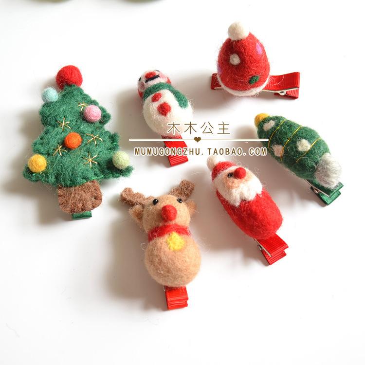 亲子发饰 头饰 姐妹女童发绳 圣诞节日饰品 羊毛毡圣诞树发夹皮筋