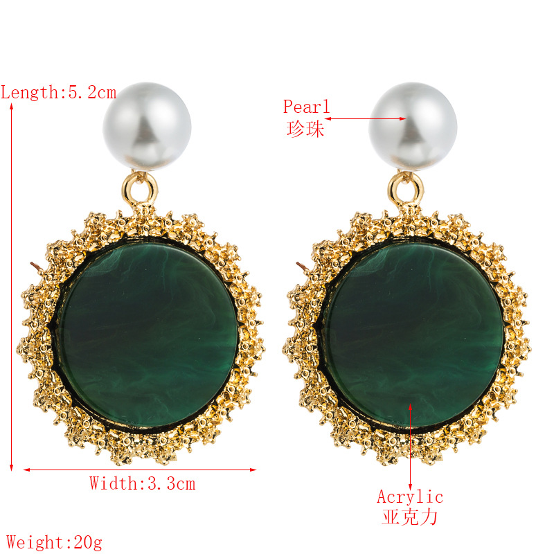 Korean temperament creative circular pattern acrylic acetate plate earrings alloy inlaid pearl earrings S925 silver needle wholesale NHLN217627