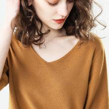 春季V领羊绒质感半袖针织衫短款薄款上衣宽松显瘦女款羊毛短袖潮