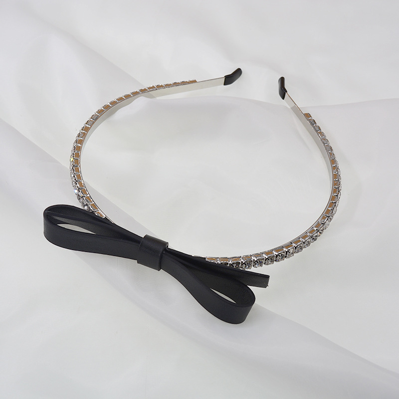 drill headband choker hair accessories decorative bow leather handmade hairband wholesale nihaojewelry NHNT239325