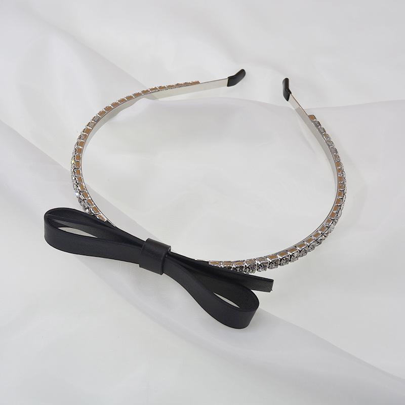 drill headband choker hair accessories decorative bow leather handmade hairband wholesale nihaojewelry NHNT239325