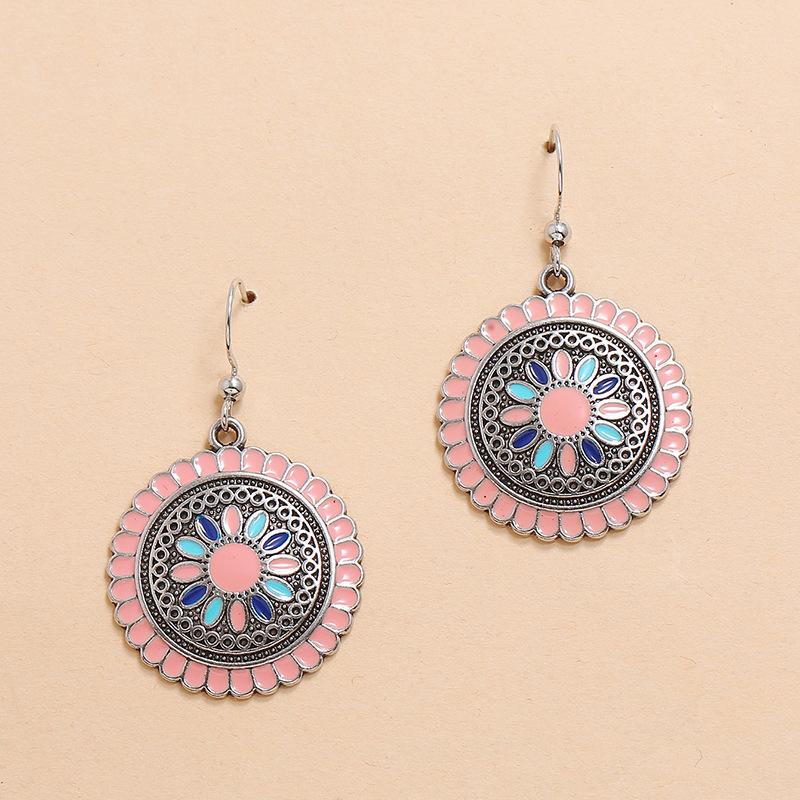 hot sale geometric alloy oil drop sunflower earrings fashion retro bohemian ethnic earrings wholesale nihaojewelry NHKQ225512