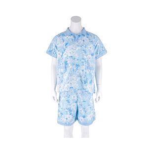Summer new style short-sleeved sauna suit men's disposable blue flower hotel bathrobe Jinlun nylon steaming suit direct sales