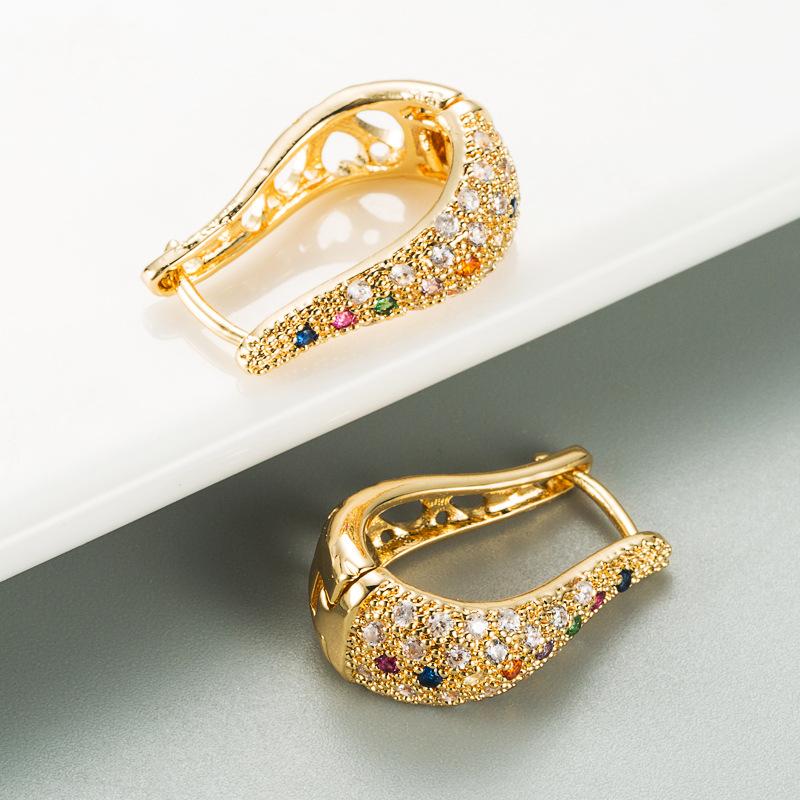 new fashion geometric U-shaped hollow micro-inlaid color zircon earrings  NHLN270337