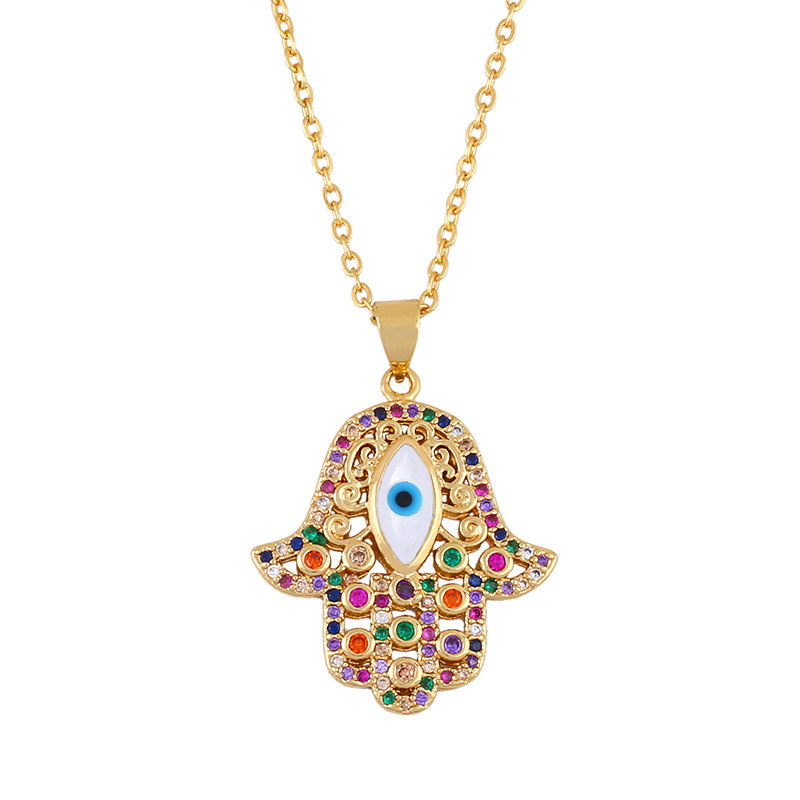 Women's necklace round cheap pendant with turkish blue eyes and diamond necklace NHAS202598