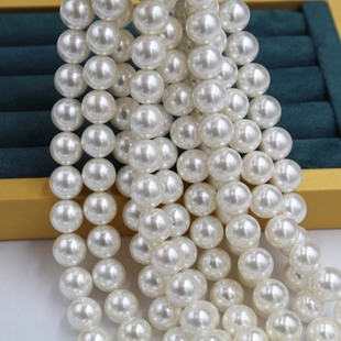 Factory direct supply 2-20mm straight hole shell pearl DIY handmade beading material loose beads pearl white shell beads