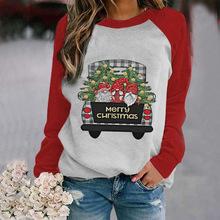跨境货源2020秋季圣诞节新款女上衣字母印花长袖款式女装 T恤