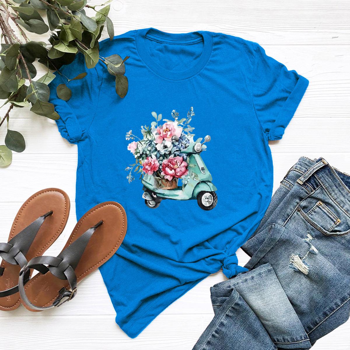 leisure float print short sleeve women's T-shirt NSSN1808