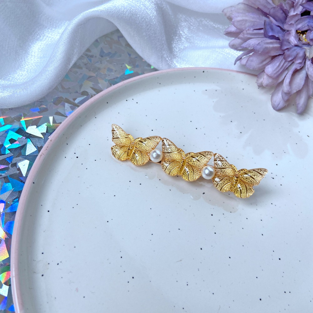 Fashion Alloy+pearl Butterfly Alloy Pearl Resin One Word Delivery