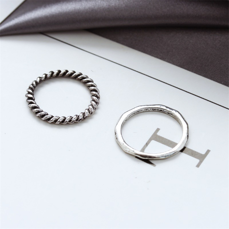 Fashion rings for women new retro hollow tree leaf three-piece ring wholesale NHDP202842