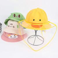 儿童防飞沫面罩防渔夫隔离帽子棉盆帽唾沫帽防护头罩卡通甜美可爱