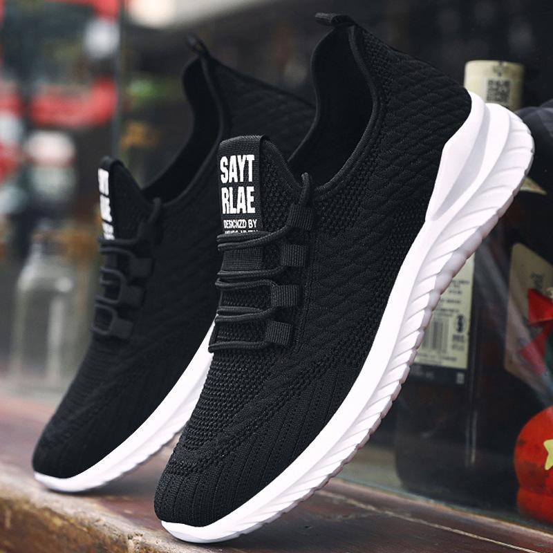 男鞋 休闲鞋子男春季新款2021男士飞织布鞋透气潮流跑步鞋运动鞋