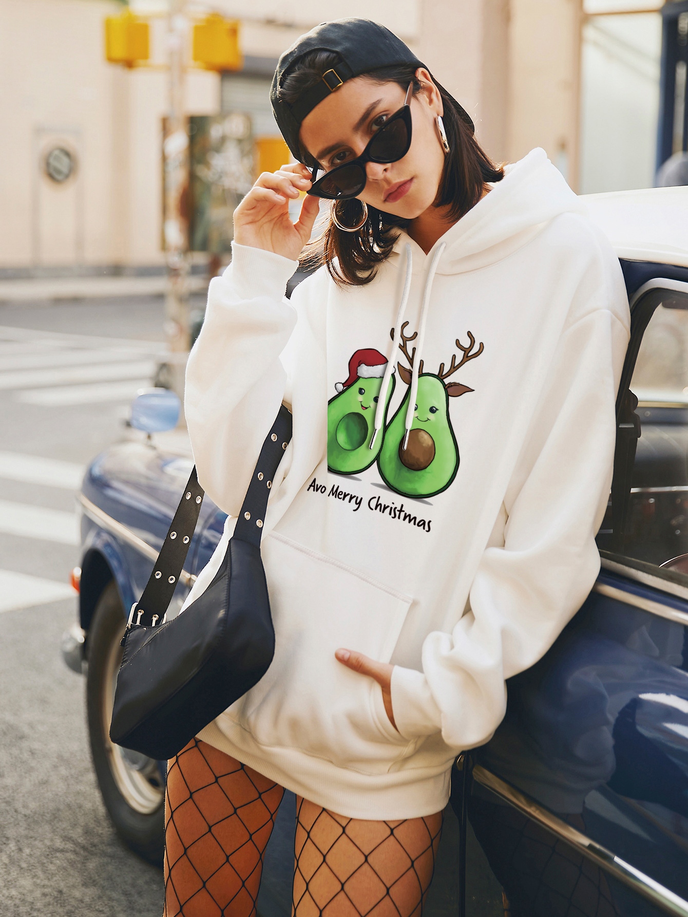 women's autumn and winter Christmas avocado loose large size hooded sweater NSSN4161