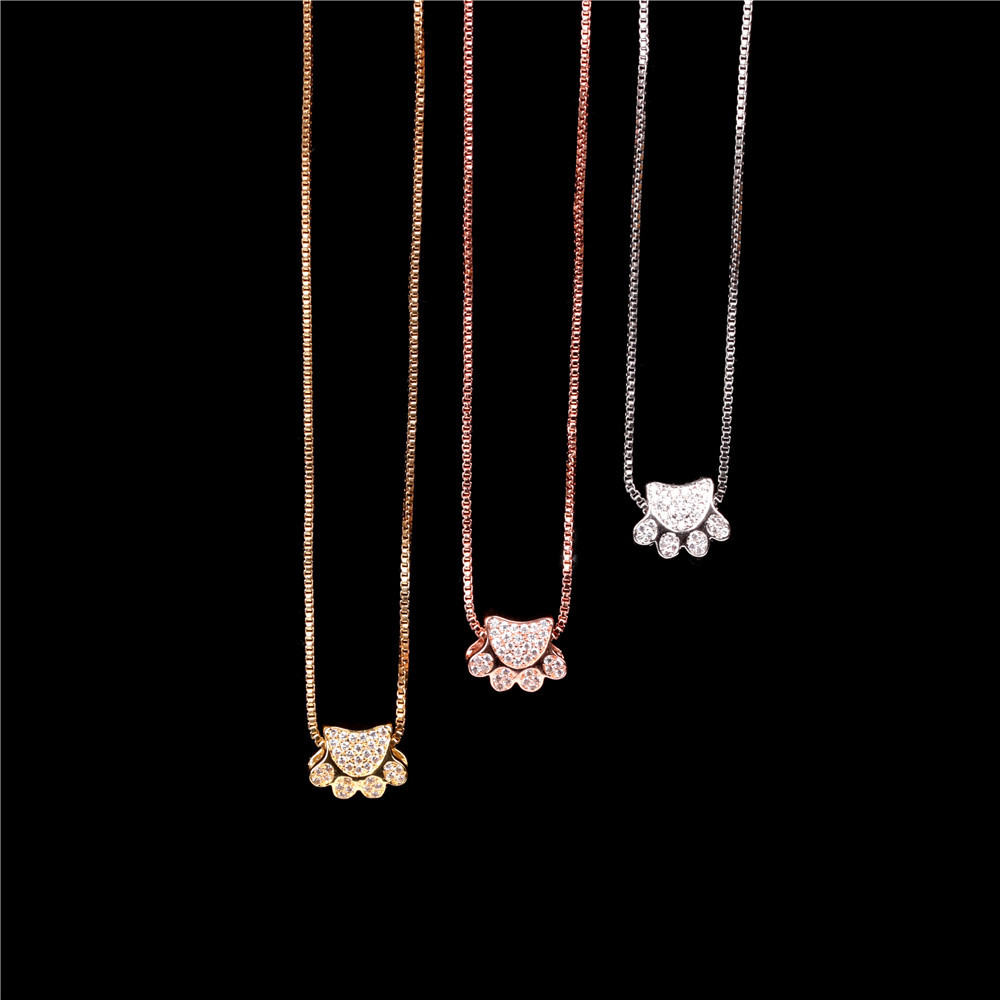 Cute animal bear paw cat paw print necklace micro inlaid zircon pendant necklace NHPY199131
