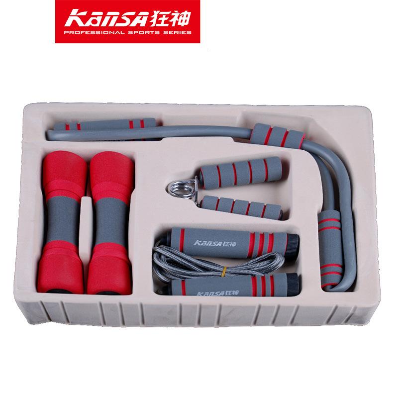 狂神女子生日送礼男健美操哑铃跳绳握力器拉力器四件套装KS1225