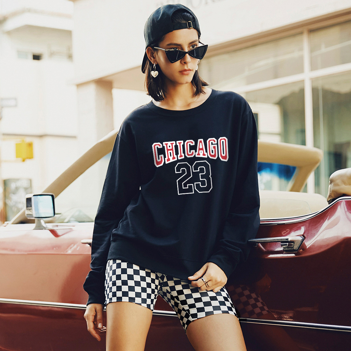 autumn and winter women's round neck long sleeve street casual hoodies NSSN1883