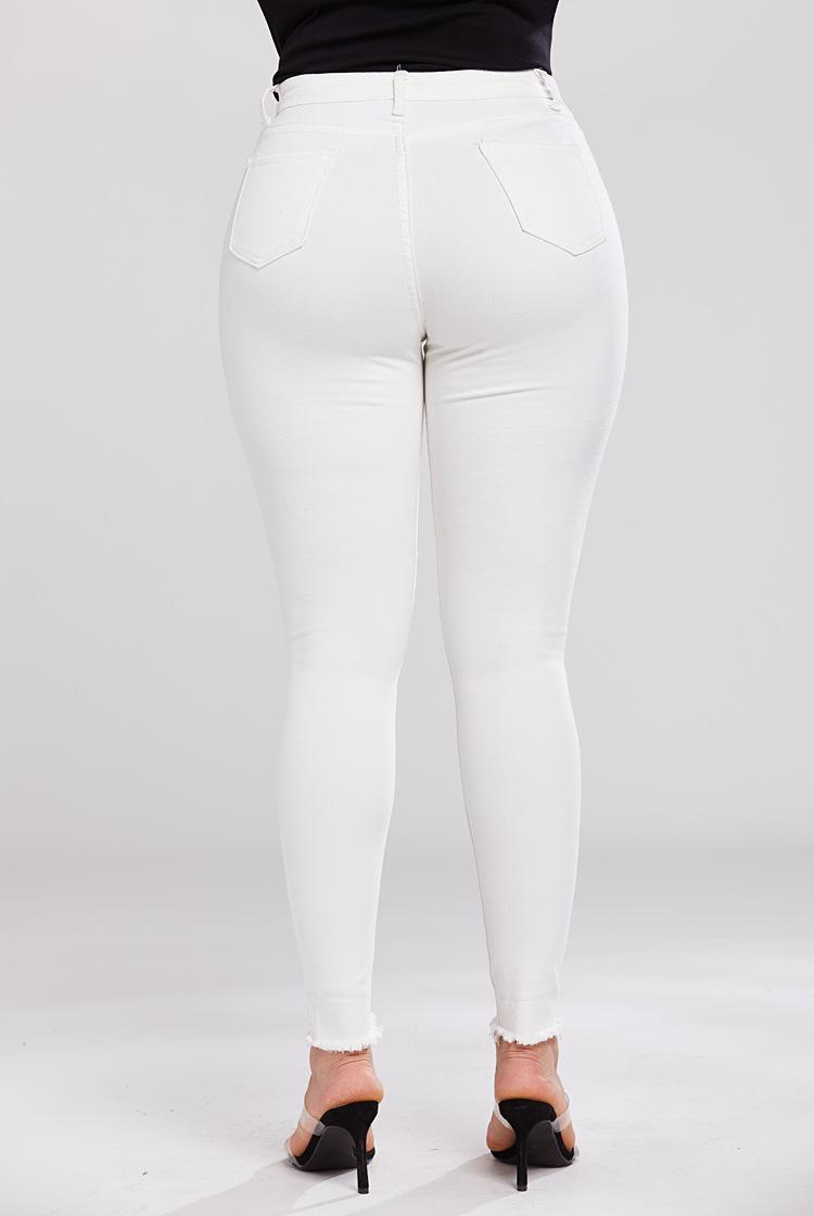 high stretch skinny sexy white denim pants NSSY9150