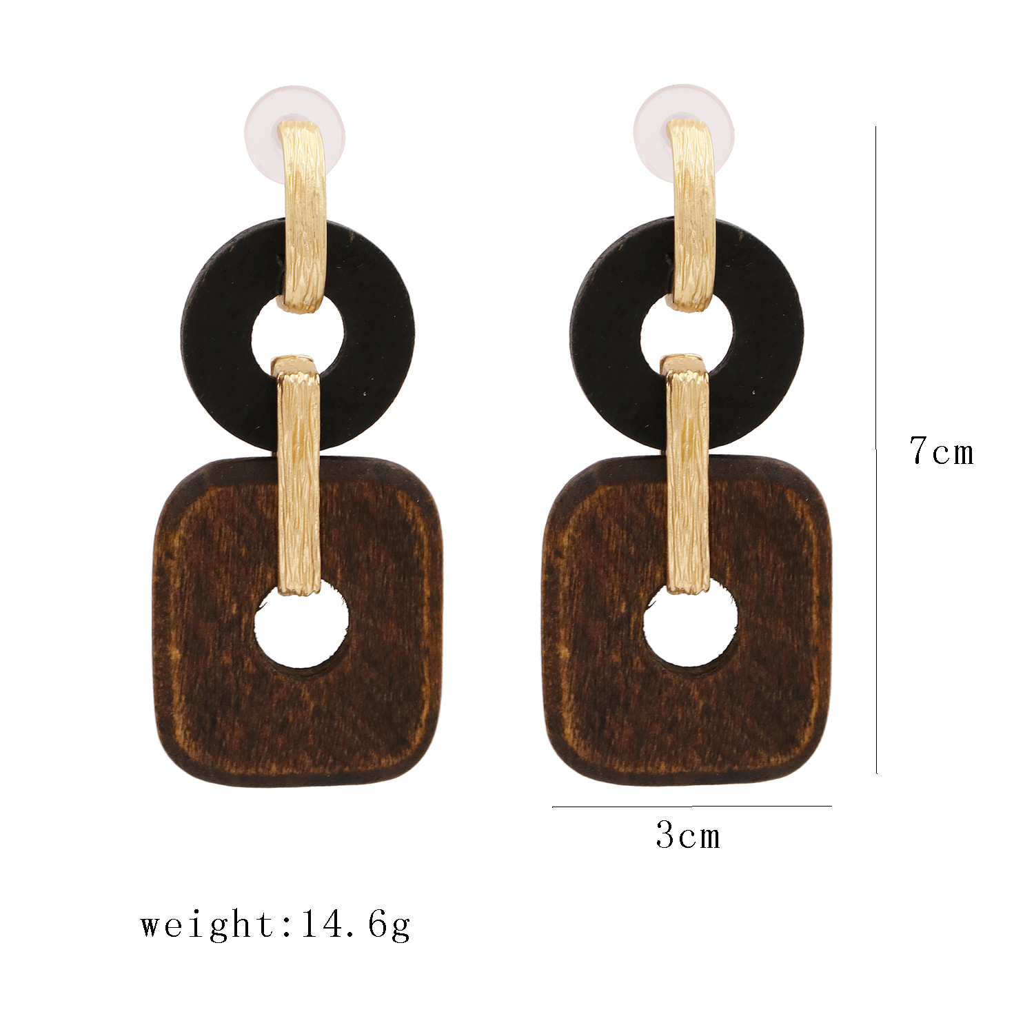 New fashion simple retro geometric wood earrings  long metal earrings earrings  wholesale NHUI221135