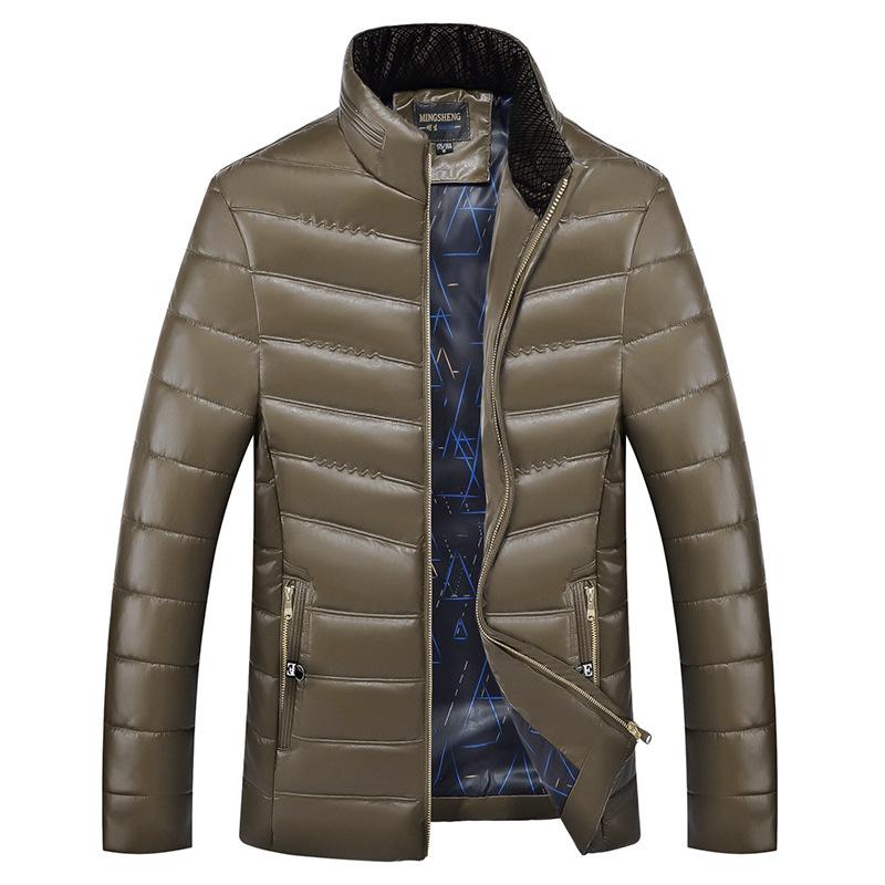 爸爸冬装外套男中年男人pu皮棉衣加厚立领皮棉袄中老年人冬天皮衣