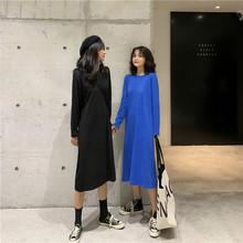 2020秋韩版港风时尚宽松显瘦中长款长袖直筒连衣裙潮过膝中长款裙