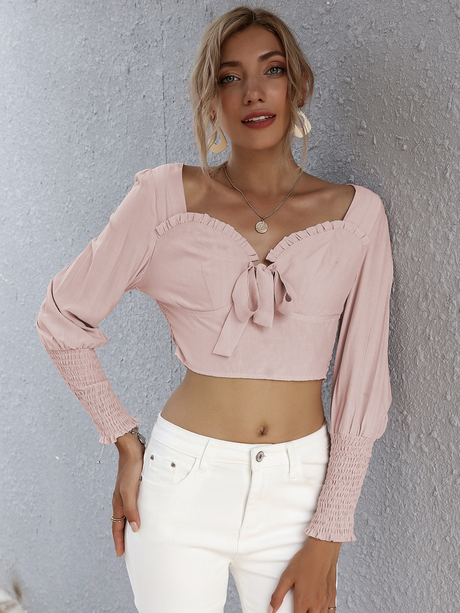 stand-alone pure color hollow short top NSAL2889