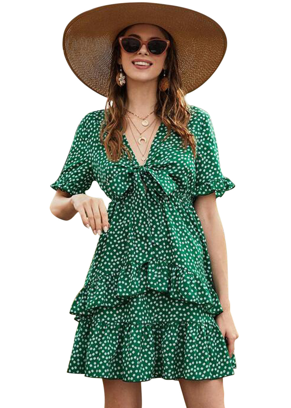 floral stitching ruffled V-neck lace flared sleeve dress NSDF1501