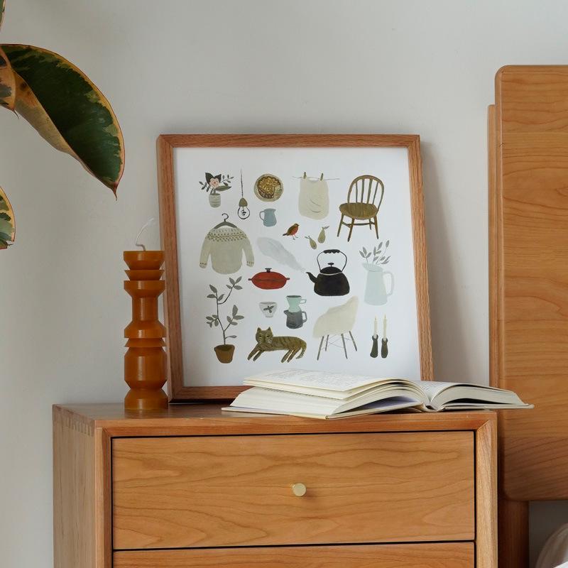 挂画卧室少女床头装饰画客厅沙发背景墙壁画北欧插画ins木框画芯