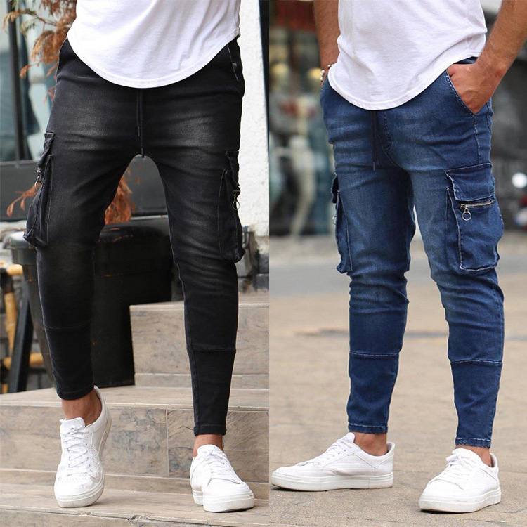 European and American Men's Multi-Pocket Zipper Decoration Stretch Jeans Tooling Jeans