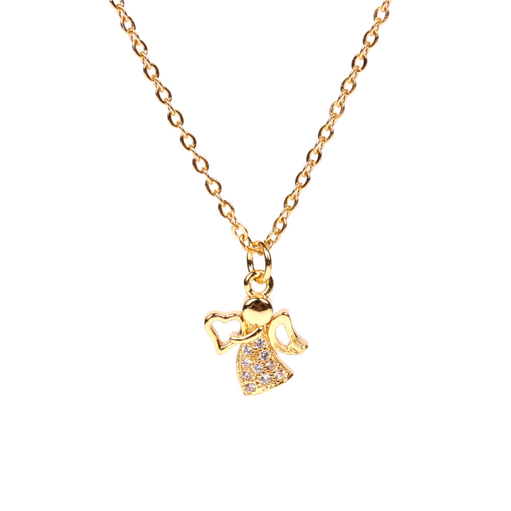 wholesale fashion new smart angel niche  micro diamond copper pendant necklace for women NHPY255997