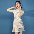 實拍2020夏季新式旗袍年輕款少女中國風改良短款日常連衣裙