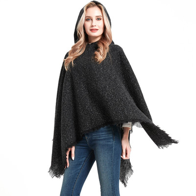 Cape women seasonal floral black hooded cape