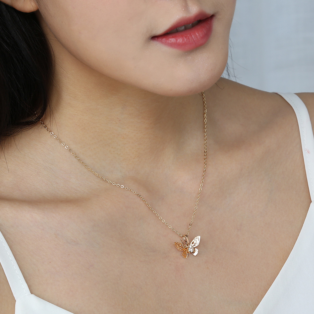 Hot selling fashion simple multi-layer hollow butterfly pendant necklace  NHAN260443