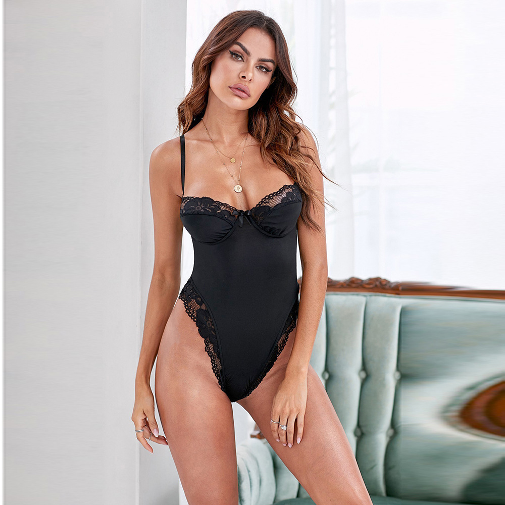 Sexy Onesie Polyester Sexy Pajamas European And American Adult Perspective Outfit Tight Sexy Halter Nightdress
