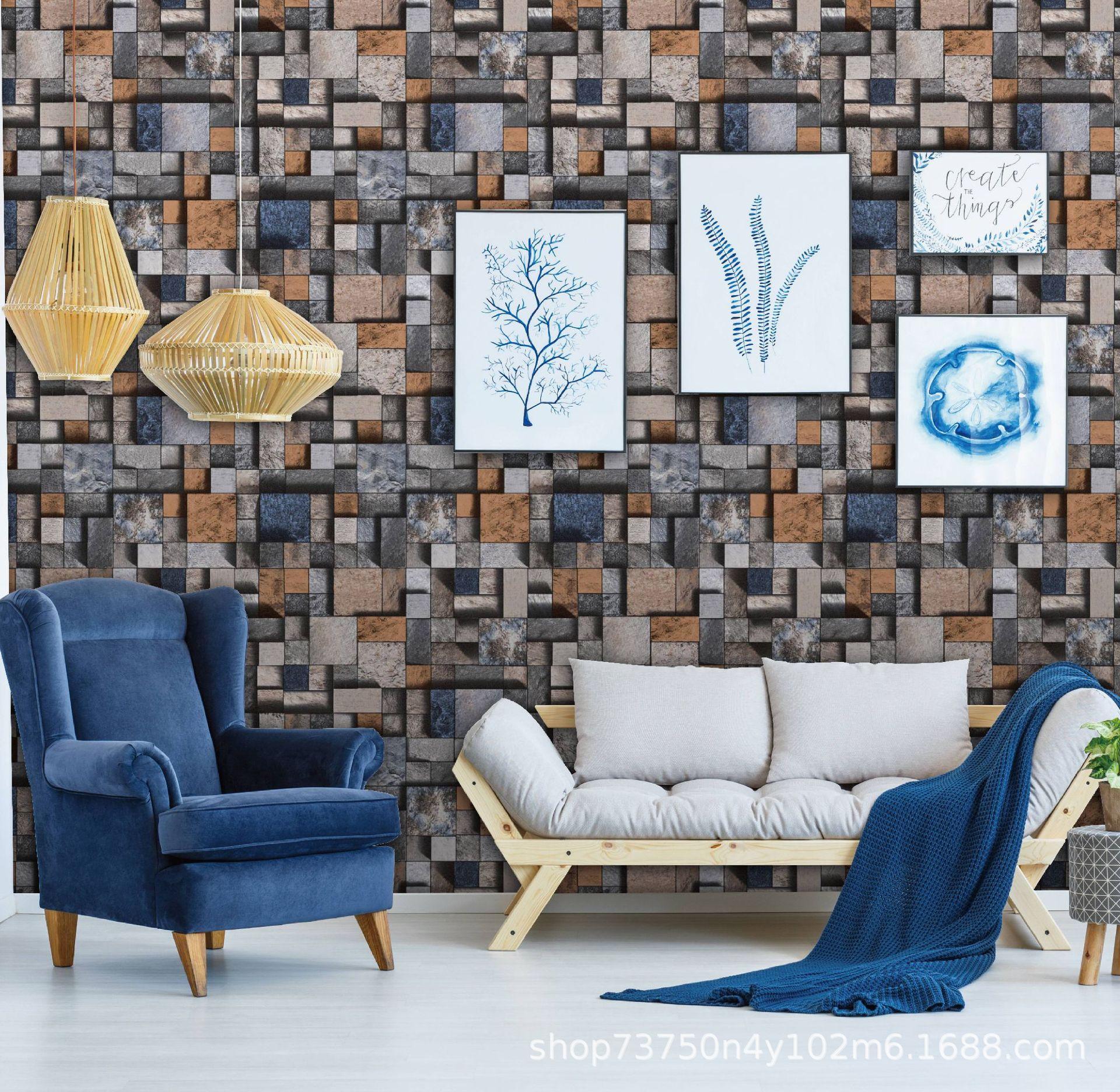 PVC 3D多彩仿砖块现代简约工程卧室客厅多场景壁纸墙纸
