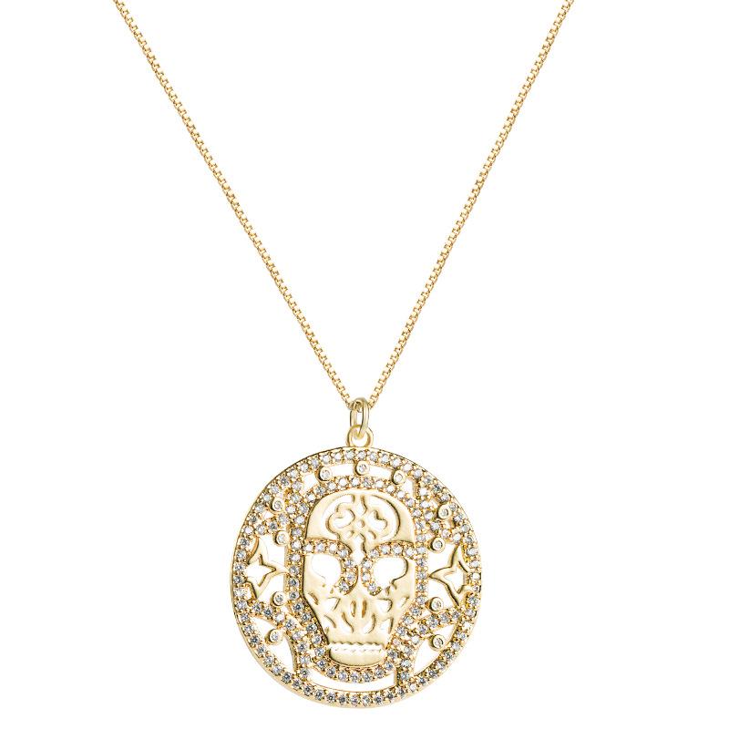 copper microinlaid zircon skull pendant hollow round necklace  NHLN280258