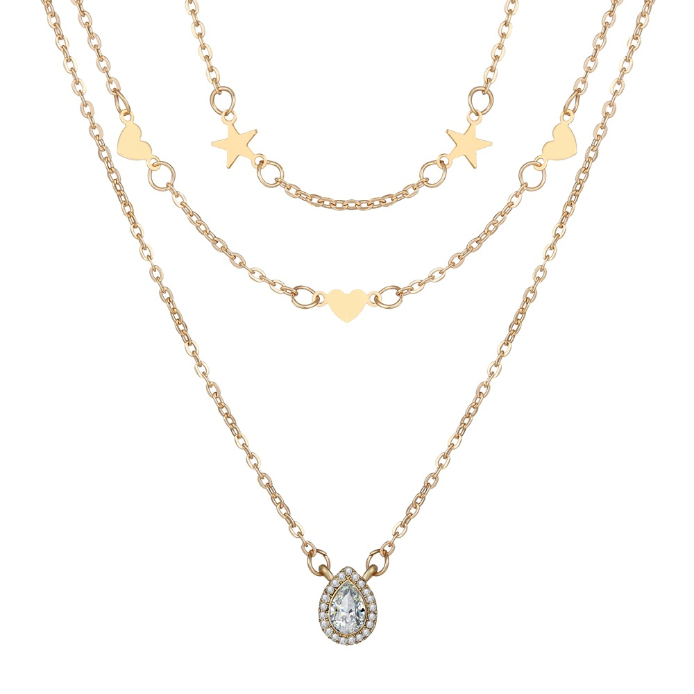 multi-layer five-pointed star peach heart water drop necklace creative retro simple necklace wholesale nihaojewelry NHPJ220210