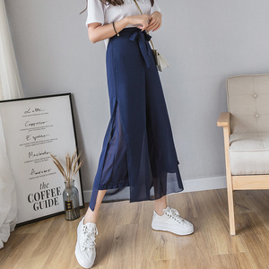ខោនារី Women Summer Chiffon Nine Points Wide Leg Pants PZ777613