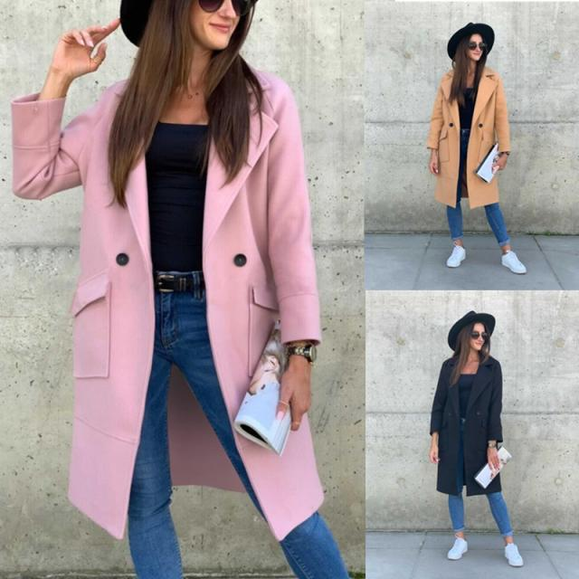 autumn and winter new long-sleeved pocket decoration solid color mid-length woolen coat NSYD3698