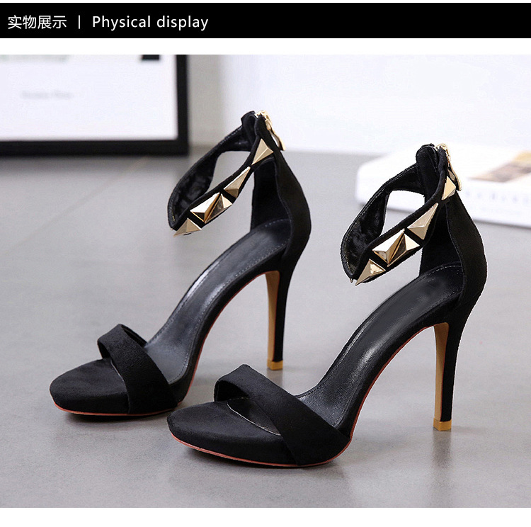 Summer new stiletto heel sandals with metal open toe suede women's shoes NHSO200255