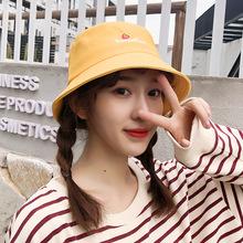 韩版可爱草莓刺绣字母女生渔夫帽子 可折叠创意户外时尚盆帽