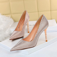 6189-1 han edition sexy show thin metal party with high heel with shallow pointed mouth shining sequins cloth women's shoes