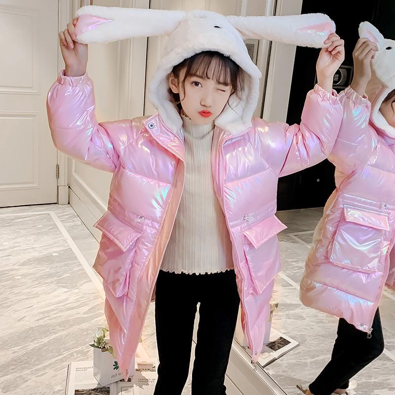 2020冬季女童炫彩外套洋气加厚棉袄中长款棉服中大童亮面羽绒棉衣